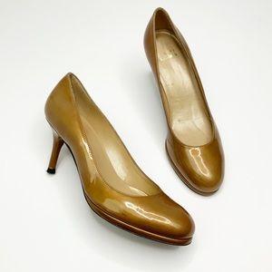 Stuart Weitzman Round Toe Bronze Patent Heel 6M